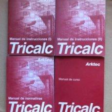 Libros de segunda mano: TRICALC. MANUAL DE INSTRUCCIONES (I Y II), MANUAL DE NORMATIVAS Y MANUAL DE CURSO. CÁLCULO ESPACIAL . Lote 139163810