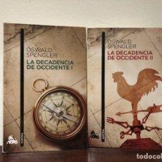 Libros de segunda mano: LA DECADENCIA DE OCCIDENTE. OSWALD SPENGLER. 2 TOMOS . AUSTRAL. FILOSOFIA DE LA HISTORIA. NUEVOS. Lote 188692083
