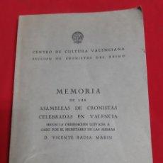 Libros de segunda mano: ABADÍA MARÍN VICENTE MEMORIA DE LAS ASAMBLEAS DE CRONISTA CELEBRARÁS EN VALENCIA 1960. Lote 189582013