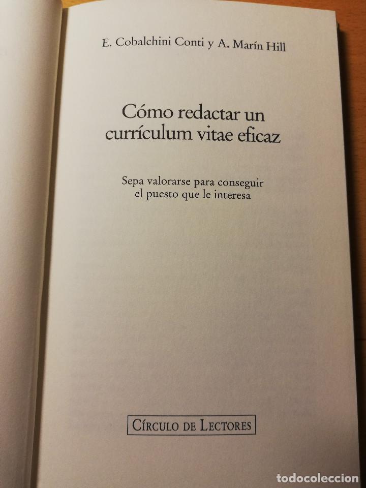 Libros de segunda mano: CÓMO REDACTAR UN CURRÍCULUM VITAE EFICAZ (E. COBALCHINI CONTI / A. MARÍN HILL) - Foto 2 - 189941707