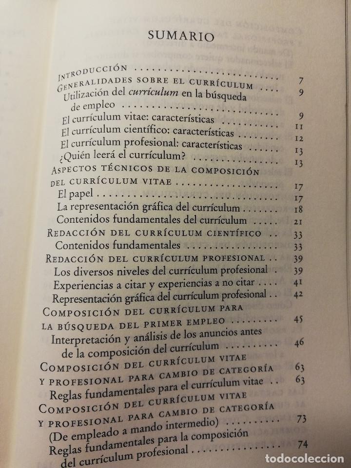 Libros de segunda mano: CÓMO REDACTAR UN CURRÍCULUM VITAE EFICAZ (E. COBALCHINI CONTI / A. MARÍN HILL) - Foto 3 - 189941707