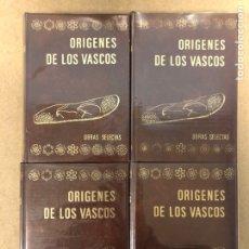 Libros de segunda mano: ORÍGENES DE LOS VASCOS (OBRAS SELECTAS). 4 TOMOS. EDITORIAL AUÑAMENDI 1980.. Lote 190300431