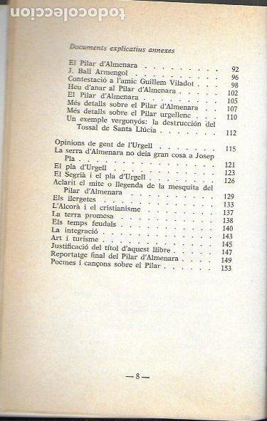 Libros de segunda mano: Vida i miracles del Pilar d Almenara / Domènec de Bellmunt. BCN : El Llamp, 1984. dedicat x autor. - Foto 5 - 191515777