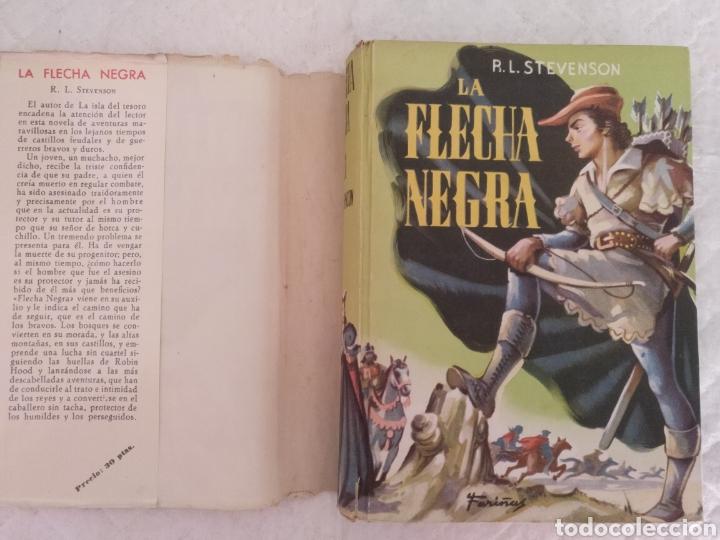 Libros de segunda mano: La flecha negra. R L Stevenson. Portada e ilustraciones Fariñas. Colección juvenil cadete 11. Libro - Foto 2 - 191987428
