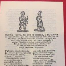 Livres d'occasion: PLIEGO DE CORDEL XACARA NUEVA EN QUE SE REFIERE Y DA CUENTA DE VEINTE MUERTES. Lote 193889055