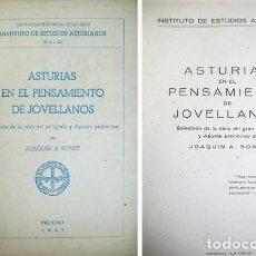 Libros de segunda mano: BONET, JOAQUÍN A(LONSO). ASTURIAS EN EL PENSAMIENTO DE JOVELLANOS. 1947.. Lote 194270636
