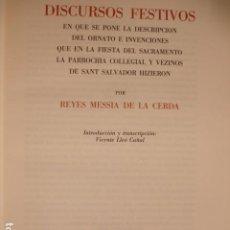 Libros de segunda mano: DISCURSO FESTIVOS REYES MESSIA DE LA CERDA SEVILLA 1985.BARRIO SAN SALVADOR.GRAN FOLIO 247 PG . Lote 194289808