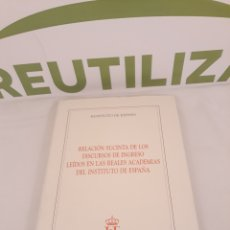 Libros de segunda mano: RELACION SUCINTA DE LOS DISCURSOS DE INGRESO LEIDOS EN LAS REALES ACADEMIAS DEL INSTITUTO DE ESPAÑA.. Lote 194306281