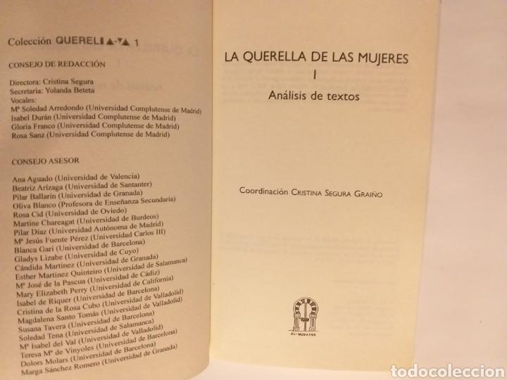 Libros de segunda mano: La querella de las mujeres I . Análisis de textos . Cristina segura .. pensamiento ensayo - Foto 5 - 194349086