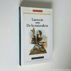 Libros de segunda mano: LUCRECIO. DE LA NATURALEZA DE LAS COSAS. CÍRCULO DE LECTORES,CLÁSICOS LATINOS,1988. ENC.TELA SOBREC.. Lote 194350083