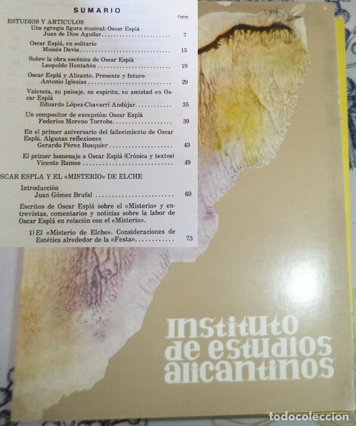 REVISTA DE ESTUDIOS ALICANTINOS N.º 21 1977 MONOGRAFICO OSCAR ESPLA (Libros de Segunda Mano - Historia - Otros)