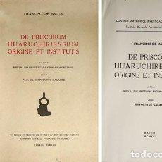 Libros de segunda mano: AVILA, FRANCISCO DE. DE PRISCORUM HUARUCHIRIENSUM ORIGINE ET INSTITUTIS... 1942.. Lote 194391686