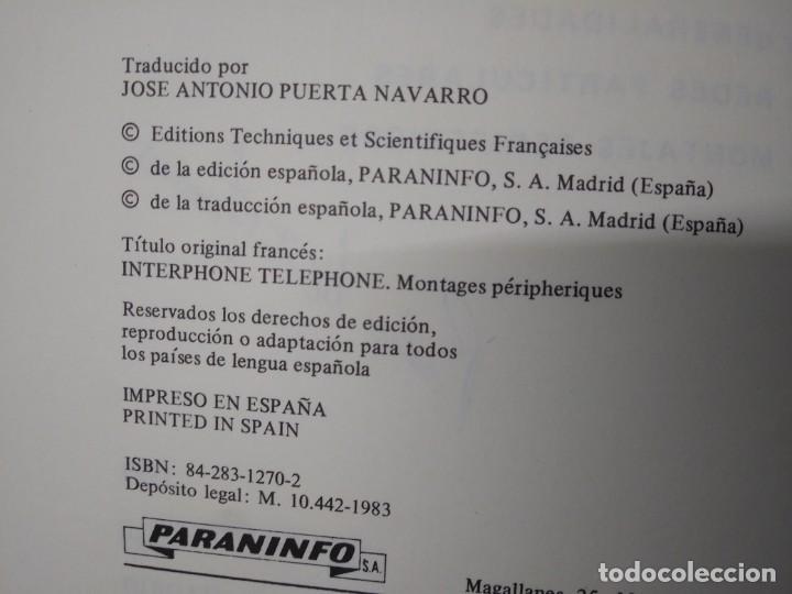 Libros de segunda mano: Libro año 1983 INTERFONOS Y TELEFONOS Paraninfo - Foto 5 - 194892701