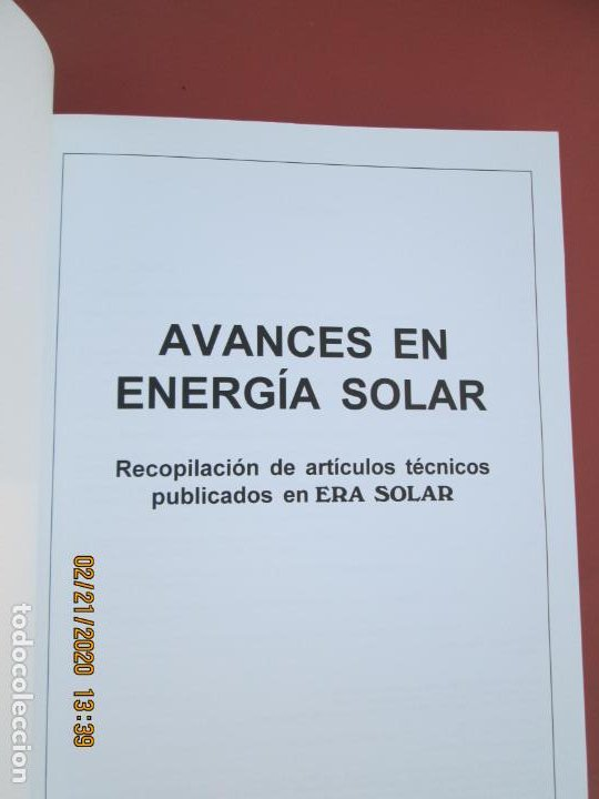 Libros de segunda mano: AVANCES EN ENERGIA SOLAR , RECOPILACION DE ARTICULOS TECNICOS PUBLICADOS EN ERA SOLAR- 1998 - Foto 4 - 194899272