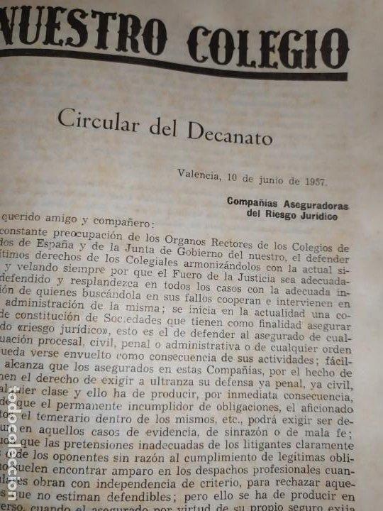 Libros de segunda mano: BOLETÍN DEL ILUSTRE COLEGIO DE ABOGADOS DE VALENCIA N° 14 JUNIO 1957 ÚNICO? - Foto 2 - 194901470