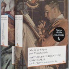 Libros de segunda mano: HISTORIA DE LA LITERATURA UNIVERSAL. MARTIN DE RIQUER. JOSE MARIA VALVERDE. 2 TOMOS. GREDOS. Lote 194903283