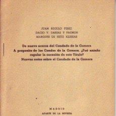 Libros de segunda mano: TENERIFE - NOTAS EN RELACION AL CONDADO DE LA GOMERA -1956. Lote 195249942