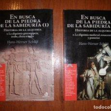 Libros de segunda mano: DOS LIBROS I Y II EN BUSCA DE LA PIEDRA DE LA SABIDURÍA HISTORIA DE LA ALQUIMÍA ED ACENTO. Lote 195321203