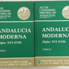 Libros de segunda mano: ANDALUCÍA MODERNA. ACTAS I CONGRESO HISTORIA ANDALUCÍA. 2 TOMOS. VARIOS AUTORES. CÓRDOBA. 1976. Lote 195340482