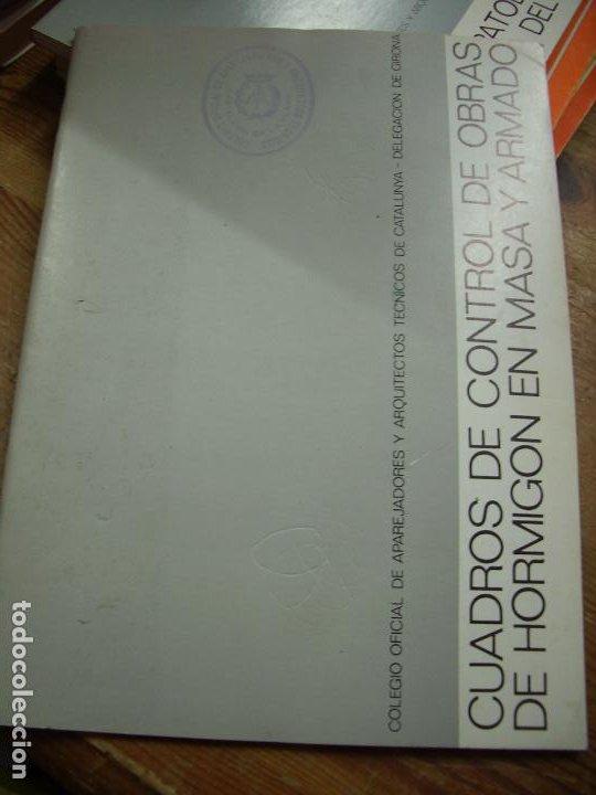 CUADROS DE CONTROL DE OBRAS DE HORMIGÓN EN MASA Y ARMADO. L.36-15 (Libros de Segunda Mano - Ciencias, Manuales y Oficios - Otros)