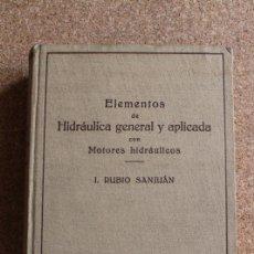 Libros de segunda mano: ELEMENTOS DE HIDRÁULICA GENERAL Y APLICADA CON MOTORES HIDRÁULICOS. RUBIO SANJUÁN (I.). Lote 195390800