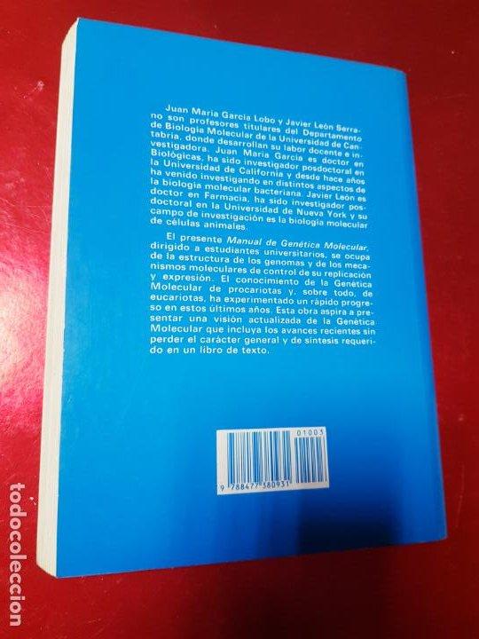 Libros de segunda mano: libro-manual de genética molecular 3-ciencias de la vida-1990-editora síntesis-Javier león serrano++ - Foto 4 - 195417190