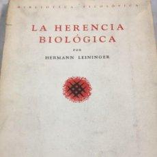 Libros de segunda mano: LA HERENCIA BIOLÓGICA. HERMANN LEININGER. ESPASA-CALPE 1939. Lote 195448128