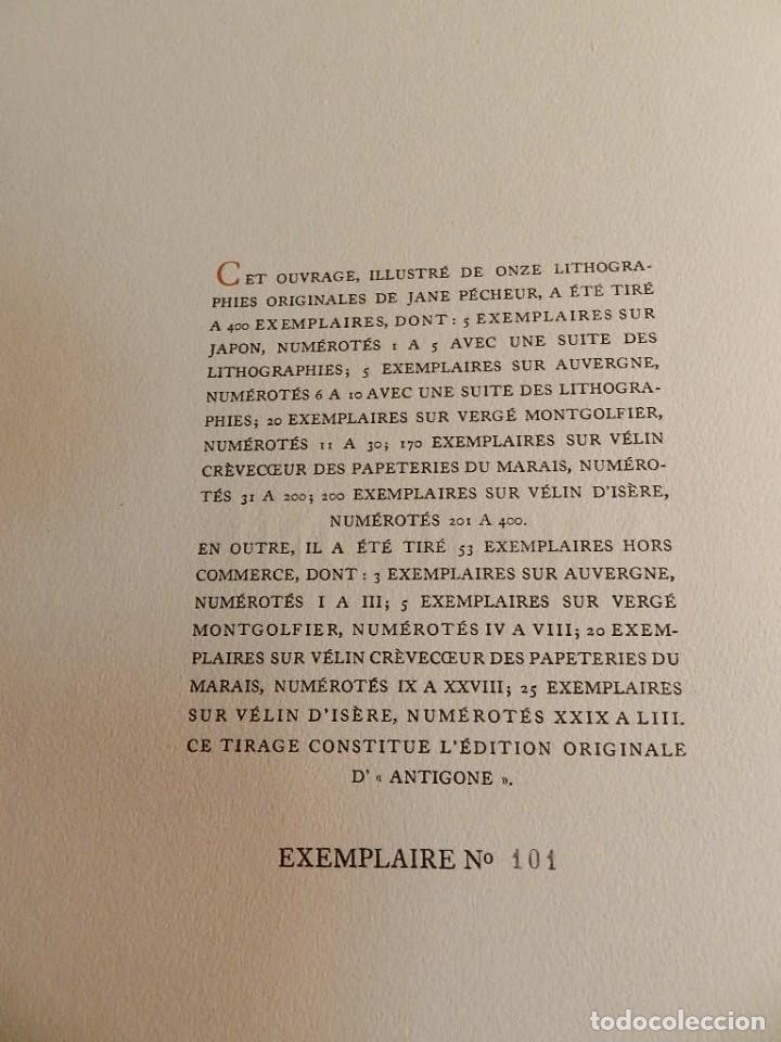 Libros de segunda mano: ANTÍGONA ANOUILH ANTIGONE - ACUARELAS JANE PECHEUR - ED LIMITADA A 190 - NUMERADO - Foto 5 - 195463915