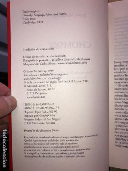Libros de segunda mano: CHOMSKY. LENGUAJE, MENTE Y POLÍTICA. JAMES McGILVRAY. - Foto 3 - 195391757