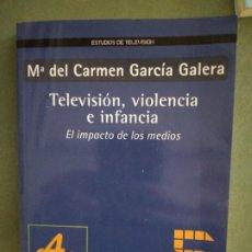 Libros de segunda mano: TELEVISION, VIOLENCIA E INFANCIA - Mª DEL CARMEN GARCIA GALERA - EDITORIAL GEDISA. Lote 195477350