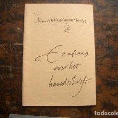 Libros de segunda mano: RARO ERASMUS OVER HET HANDSCHRIFT. Lote 195539802