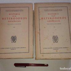 Libros de segunda mano: 2 TOMOS HISTORIA DE LOS HETERODOXOS ESPAÑOLES VII Y VIII (T 1-8). Lote 195627152
