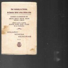 Libros de segunda mano: REAL ACADEMIA DE CORDOBA DE CIENCIA BELLAS LETRAS Y NOBLE ARTES 1981. Lote 201331182