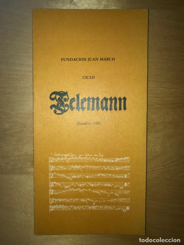 FUNDACIÓN JUAN MARCH. OCTUBRE 1981 - CICLO TELEMANN (Libros de Segunda Mano - Bellas artes, ocio y coleccionismo - Otros)