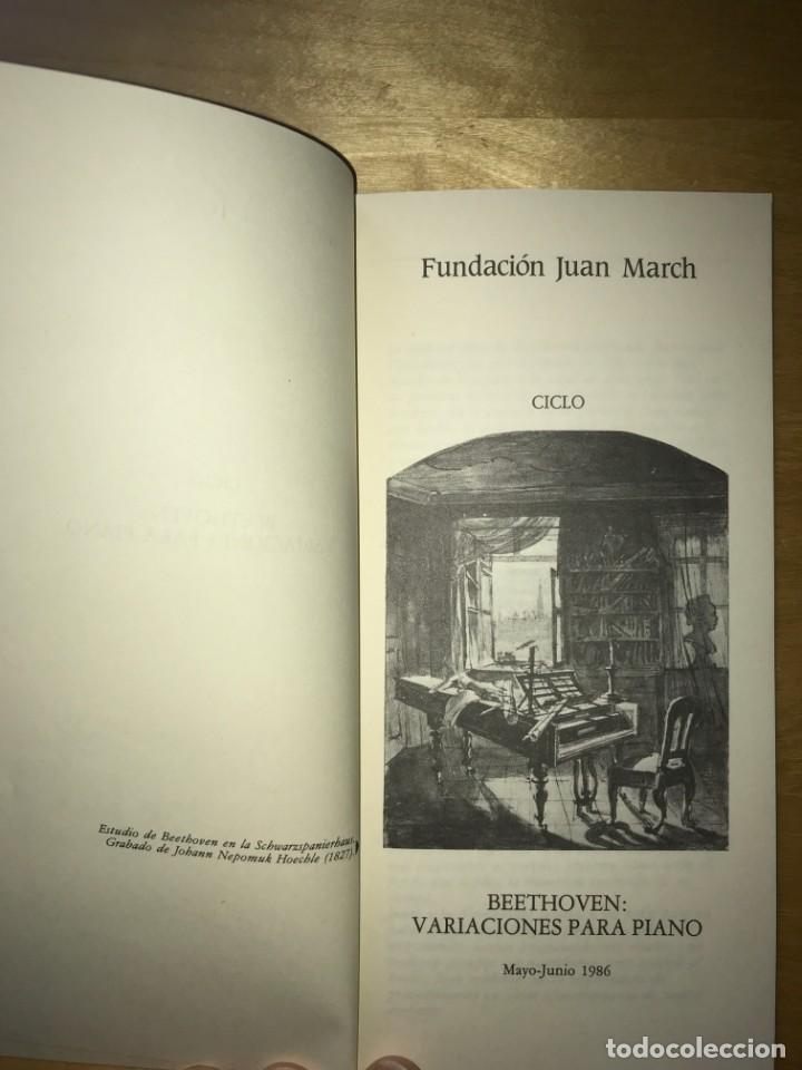 Libros de segunda mano: FUNDACIÓN JUAN MARCH. MAYO - JUNIO 1986 - CICLO BEETHOVEN VARIACIONES PARA PIANO - Foto 2 - 202110501