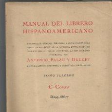 Livres d'occasion: MANUAL DEL LIBRERO HISPANO AMERICANO ANTONIO PALAU TOMO III 1950 BIBLIOGRAFIA GENERAL. Lote 203918235