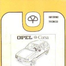 Livros em segunda mão: INFORME TECNICO MAPFRE 3: OPEL CORSA; DESCRIPCION BASICA / ANALISIS DE REPARABILIDAD. A-MOT-306. Lote 203995218