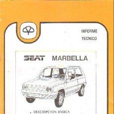Livros em segunda mão: INFORME TECNICO MAPFRE 22: SEAT MARBELLA; DESCRIPCION BASICA / ANALISIS DE REPARABILIDAD. A-MOT-321. Lote 204056671