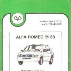 Livros em segunda mão: INFORME TECNICO MAPFRE 28: ALFA ROMEO 33; DESCRIPCION BASICA / ANALISIS DE REPARABILIDAD. A-MOT-327. Lote 204057685