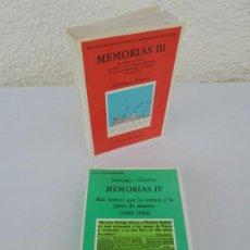 Libros de segunda mano: SANTIAGO ALVAREZ. MEMORIAS III. DEDICADO POR AUTOR. MEMORIAS IV. DOS LIBROS. EDICIOS DO CASTRO.. Lote 205800823