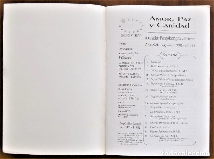 Libros de segunda mano: LOTE 91 BOLETINES AMOR, PAZ Y CARIDAD ASOCIACIÓN PARASICOLÓGICA DE VILLENA (ALICANTE) DE 1989 A 2001 - Foto 21 - 207128316