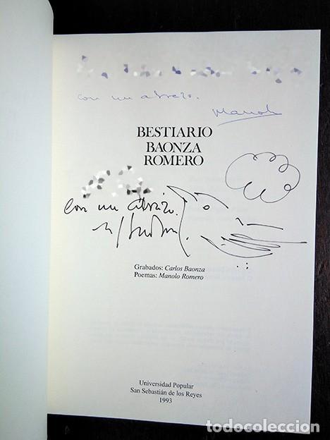 Libros de segunda mano: Bestiario · Baonza, Romero. Prólogo de José Hierro. Firmado por los autores - Foto 2 - 208286715