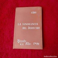 Libros de segunda mano: LA IGNORANCIA DEL DERECHO MANUALES SOLER XII. Lote 208410000