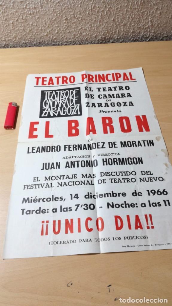 EL BARON - CARTEL - TEATRO CAMARA DE ZARAGOZA - 1966 U-401 TEATRO (Libros de Segunda Mano - Bellas artes, ocio y coleccionismo - Otros)
