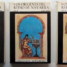 Libros de segunda mano: LOS ORIGENES DEL REINO DE NAVARRA. JOAQUIN ARBELOA. ED. AUÑAMENDI 1969. 3 TOMOS. ILUSTRADOS. Lote 191512268