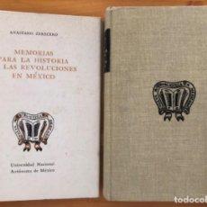 Libros de segunda mano: MEXICO- MEMORIAS PARA LA HISTORIA DE LAS REVOLUCIONES - ANASTASIO ZERECERO- 1975. Lote 212776472