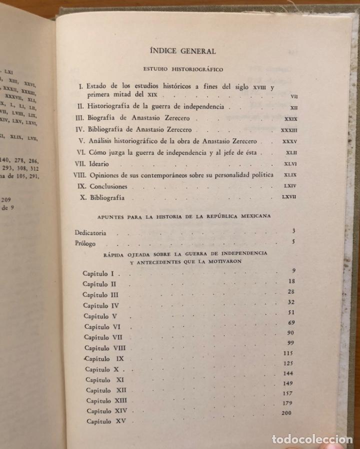 Libros de segunda mano: MEXICO- MEMORIAS PARA LA HISTORIA DE LAS REVOLUCIONES - ANASTASIO ZERECERO- 1975 - Foto 6 - 212776472
