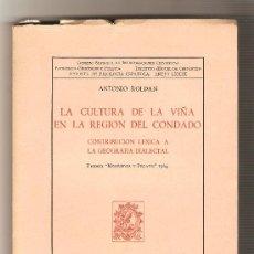 Libros de segunda mano: LA CULTURA DE LA VIÑA EN LA REGÍON DEL CONDADO - ANTONIO ROLDAN. Lote 213750935