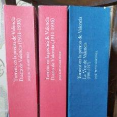 Libros de segunda mano: TORRENT EN LA PRENSA DE VALENCIA. 3 TOMOS. DIARIO DE VAL. TOMO I Y II. LA VOZ DE VAL.1 TOMO. ED 2006. Lote 217884298