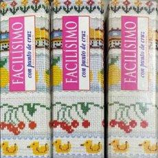 Libros de segunda mano: FACILISIMO CON PUNTO DE CRUZ. 3 CARPETAS ARCHIVADORAS. PLANETA DE AGOSTINI 1996. Lote 218677205